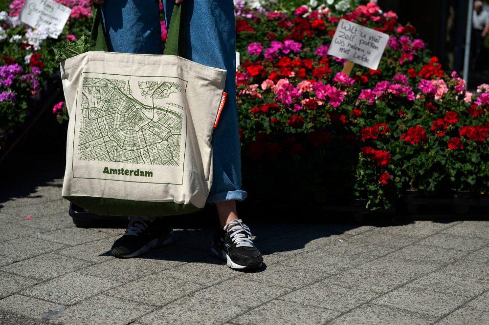 Big, plastic free shopper bag with Amsterdam map print
