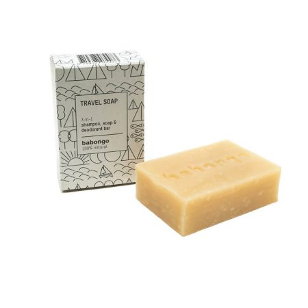 Babongo 3-in-1 Travel soap (shampoo bar, body soap, deodorant)
