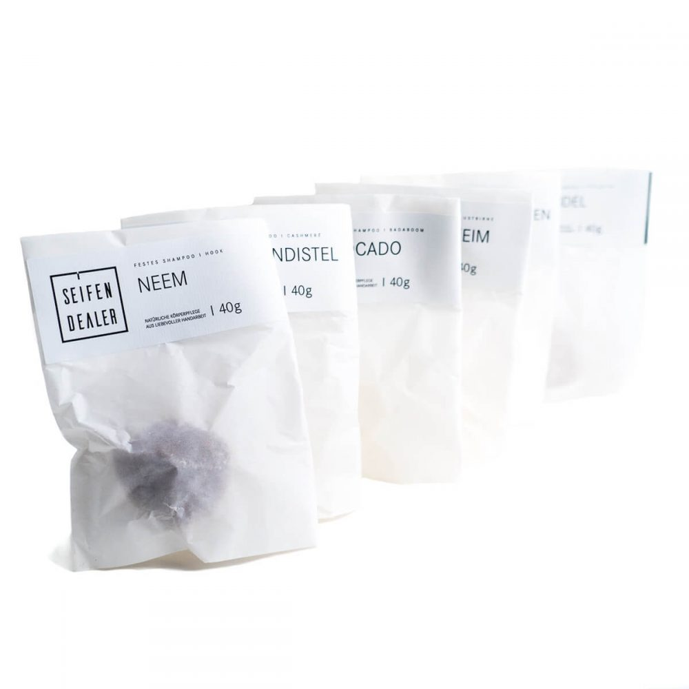 Solid shampoo in plastic free packaging