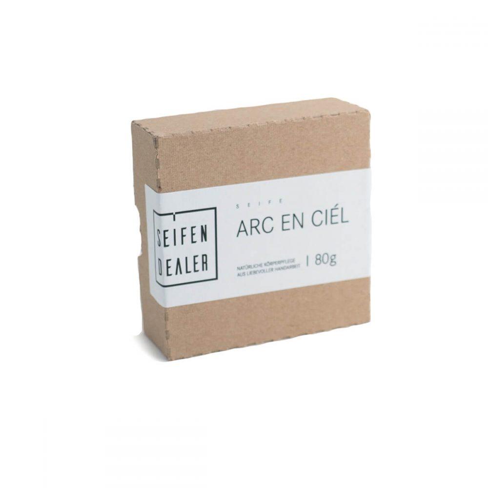 recycled packaging of body soap Arc en ciel