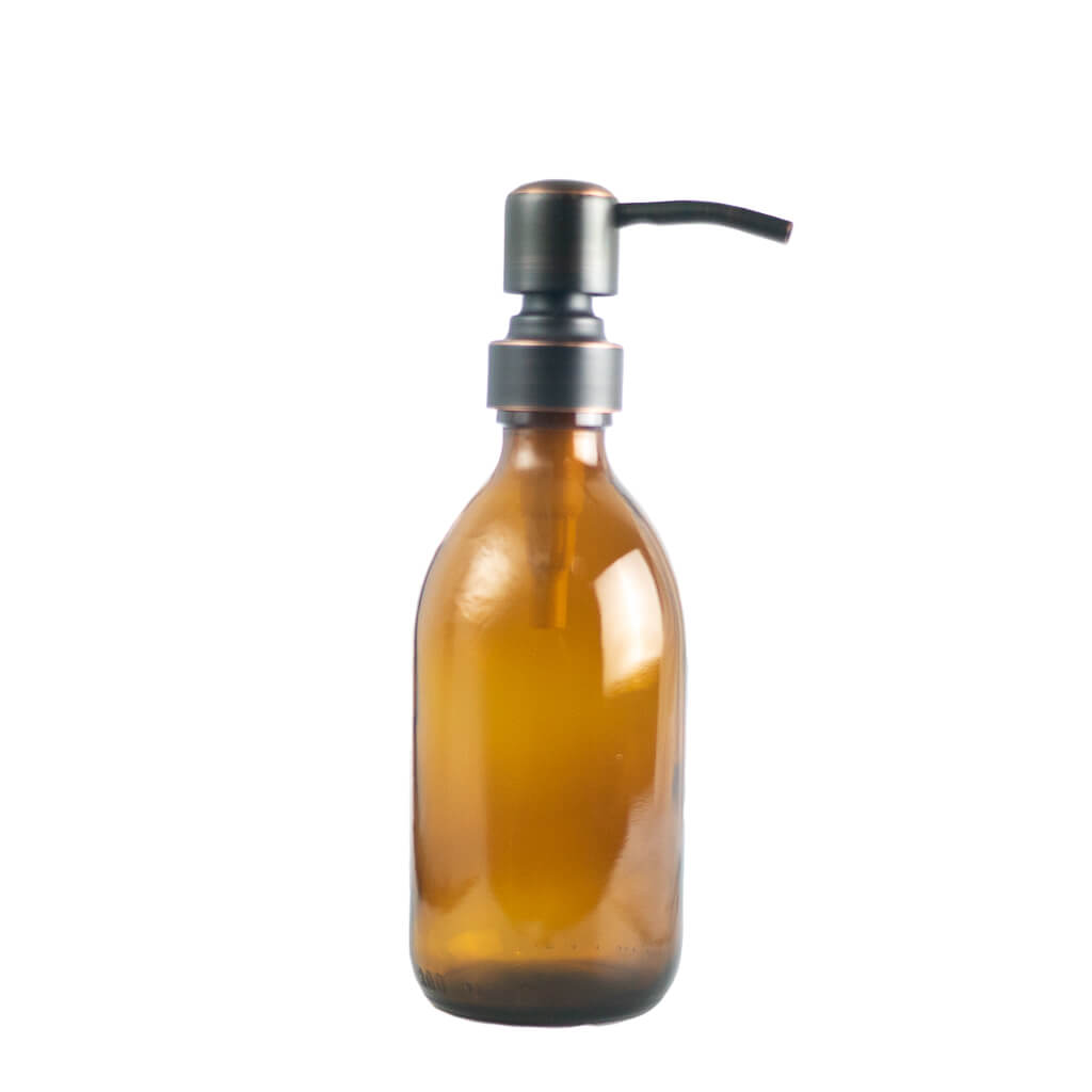 Refillable glass bottle with metal pump 300ml